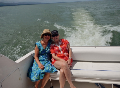 Kathy and Dori enjoy the sunday         afternoon ride down the Rio on the power boat THE COFFEE BEAN