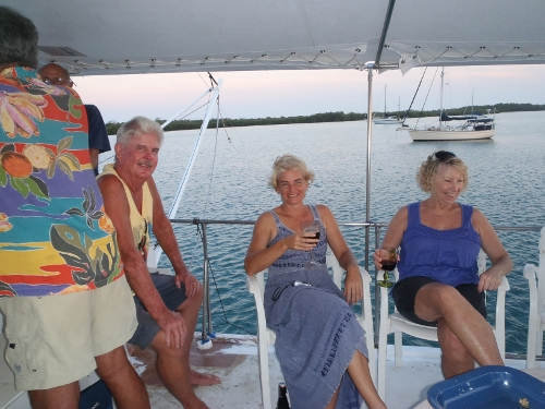 Sundowners on the                 Power Boat Cabaret in Sapodilla Lagoon