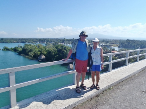 We stand on the bridge               that croasses the Rio Dulce River at the town of Rio               Dulce