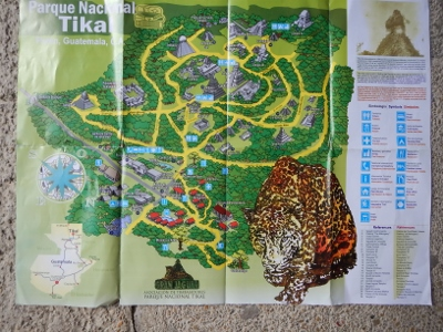 A map of the Tikal Mayan Ruins in         a Guatemala National Park